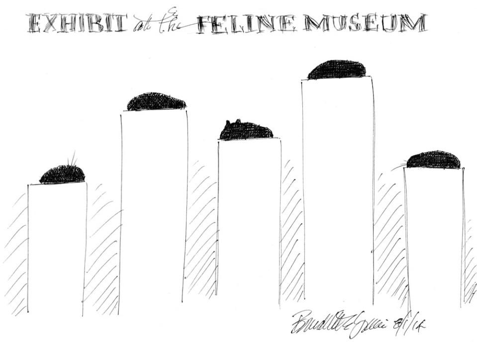 """""""Exhibit at the Feline Museum"""", 10"""" x 7"""", ink technical pen © Bernadette E. Kazmarski"""