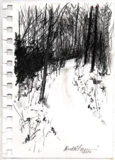"""Path Uphill, 4.5"""" x 6.5"""", charcoal © Bernadette E. Kazmarski"""