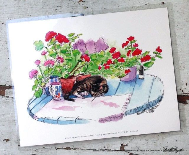 Stanley With Geraniums, 9 x 12.