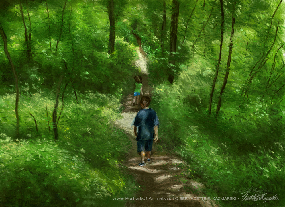 """Running Through the Woods"", pastel, 20"" x 14"" © Bernadette E. Kazmarski"