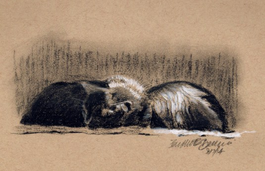 """Front and Back"", white and black charcoal on toned paper, 8"" x 5"" © Bernadette E. Kazmarski"