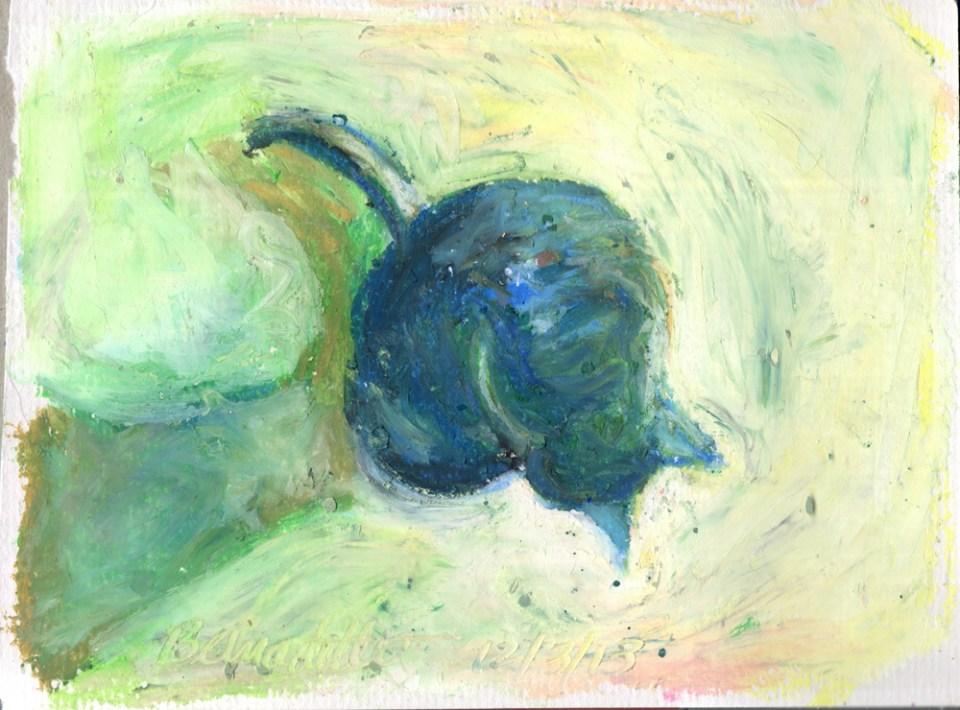 """""""Cool Morning Bath"""", oil pastel, 5"""" x 7"""" © Bernadette E. Kazmarski"""