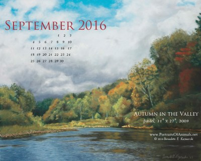 """Autumn in the Valley"" desktop calendar, 1280 x 1024 for square and laptop monitors."