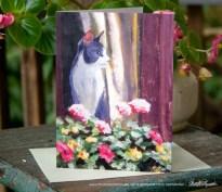 "Feline art card: Namir at the Window, acrylic, 13"" x 17"" © Bernadette E. Kazmarski"