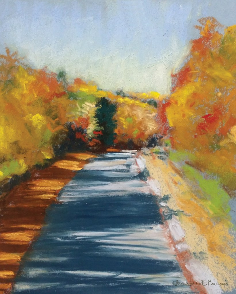 """Colorful Autumn Trail"", pastel on Canson pastel paper, 8″ x 12″ © Bernadette E. Kazmarski"