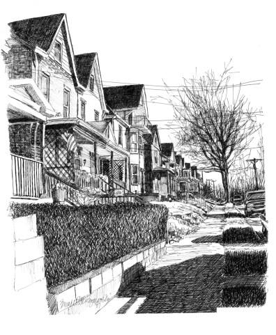Library Avenue, ink, 12 x 16, 2007 © Bernadette E. Kazmarski