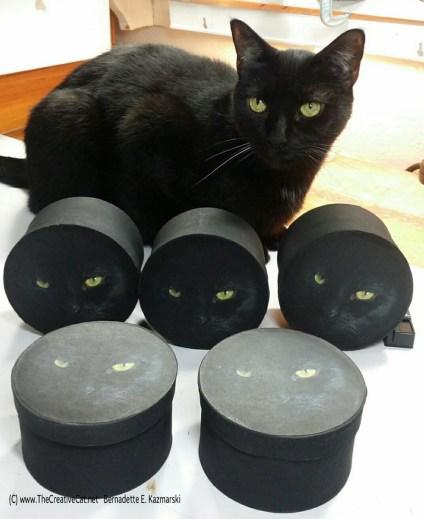Giuseppe models the keepsake boxes.