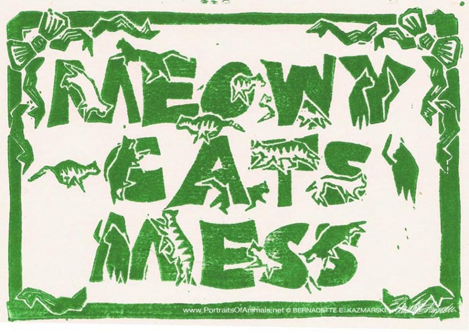 Meowy Cat's Mess, green on cream
