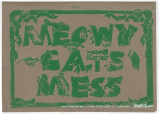 Meowy Cat's Mess, green on kraft