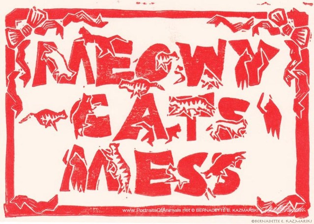 Meowy Cats Mess, red on cream