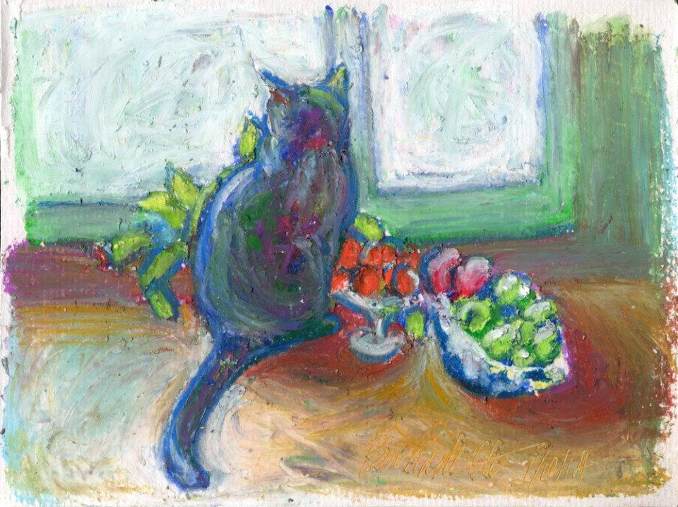 """Cat With Fruit"", oil pastel, 5"" x 7"" © Bernadette E. Kazmarski"