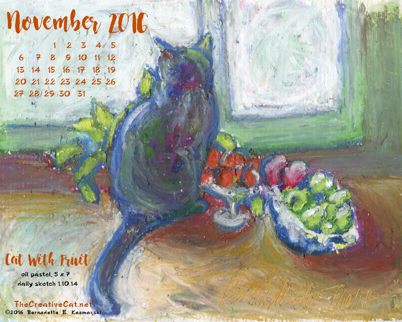 """Cat With Fruit"" desktop calendar, 1280 x 1024 for square and laptop monitors."