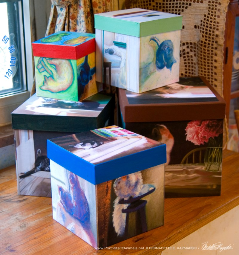 Five different keepsake boxes.