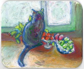 Cat With Fruit mousepad