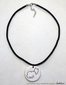 "Sample of flocked cord with ""Back to Front"" pendant, 1"" x 1"" round."