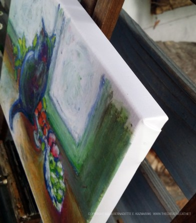 Cat With Fruit canvas print, corner.