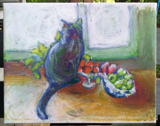 Cat With Fruit 8 x 10 canvas print