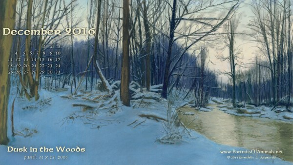 """Dusk in the Woods"" desktop calendar 2560 x 1440 for HD and wide screens."