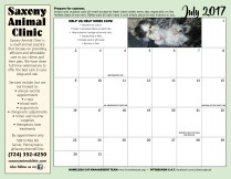 July calendar and sponsor ad.