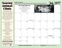 July calendar and sponsor ad.