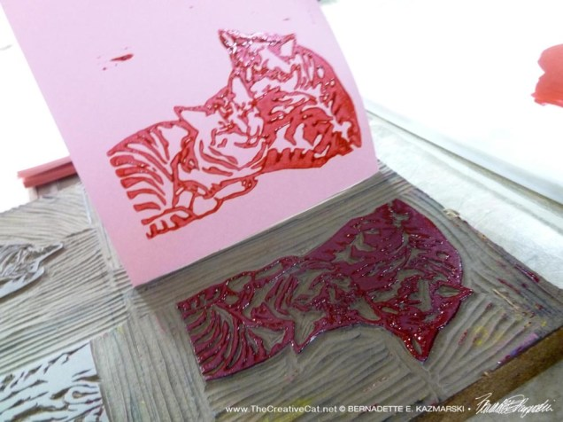 lifting the print from the linoleum block
