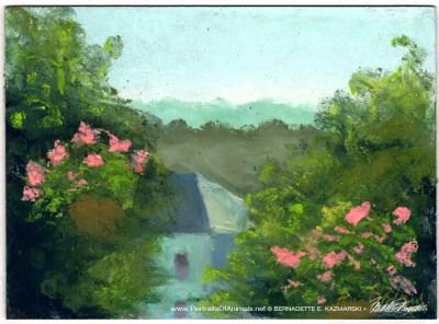 Summer Morning on the Deck, pastel on prepared board, 8 x 12 © Bernadette E. Kazmarski