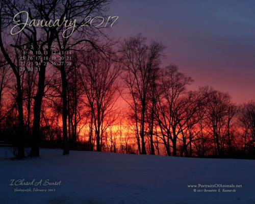 """I Chased A Sunset"" desktop calendar, 1280 x 1024 for square and laptop monitors."