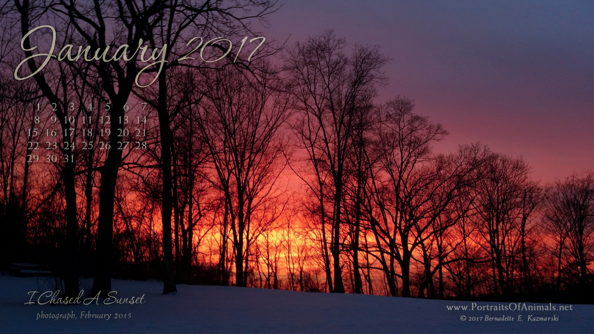 """I Chased a Sunset"" desktop calendar 2560 x 1440 for HD and wide screens."
