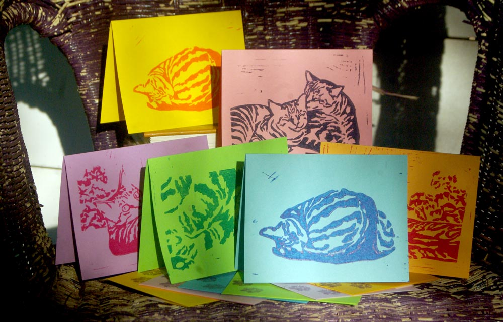 Bright and Colorful Handprinted Tabbies Note Cards