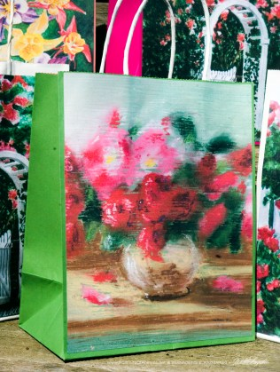 Small Roses Gift Bag, green