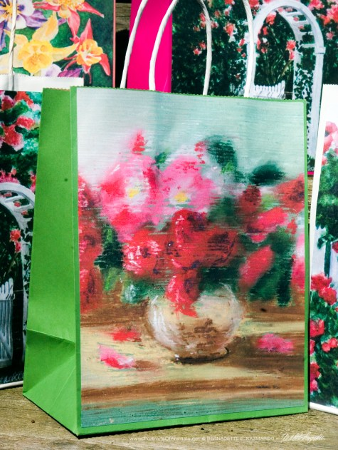 Small Roses Gift Bag, green