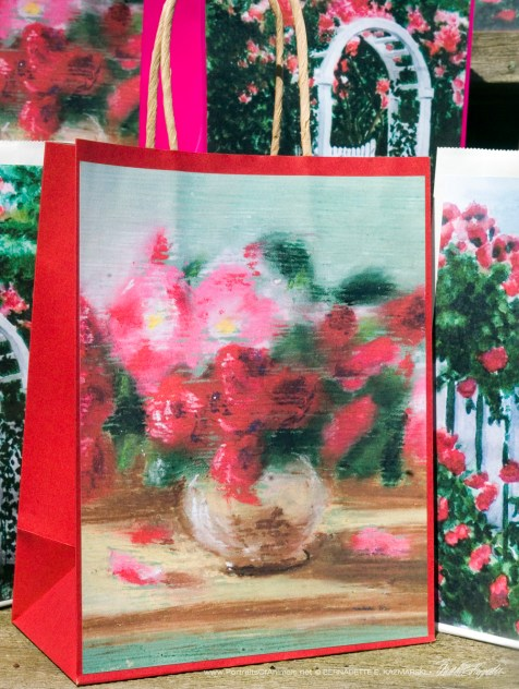 Small Roses Gift Bag, red