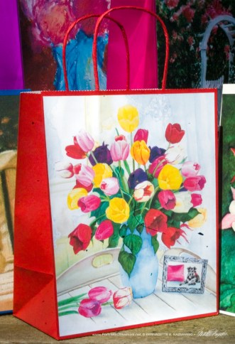 Veronica's Tulips Gift Bag, red