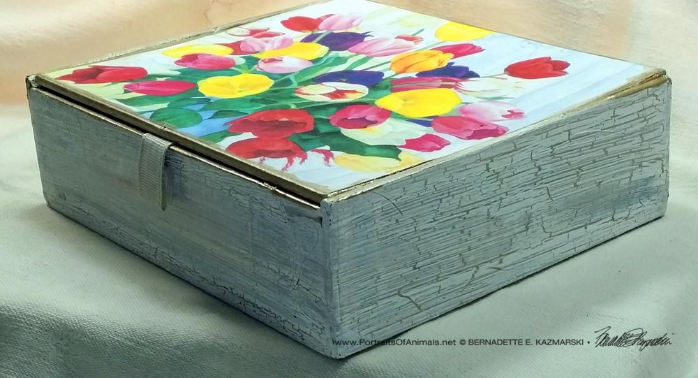 Veronica's Tulips Vintage Cardboard Cigar Box Keepsake, finish.