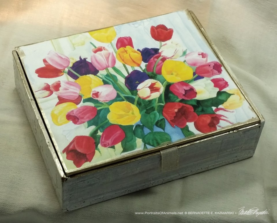 Veronica's Tulips Vintage Cardboard Cigar Box Keepsake, design.