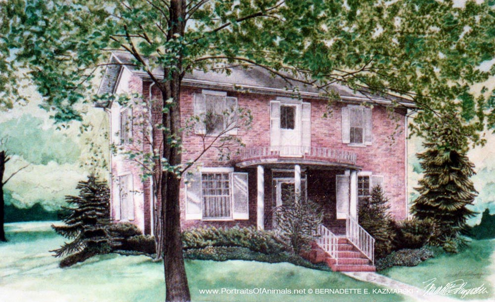 """McAdams House, ink and watercolor, 18"""" x 30"""", 1993."""