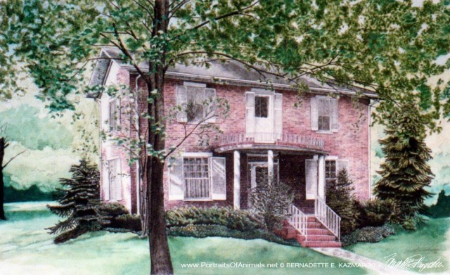 "McAdams House, ink and watercolor, 18"" x 30"", 1993."