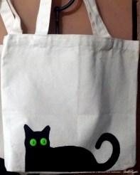 Bella! handprinted and embellished tote bag