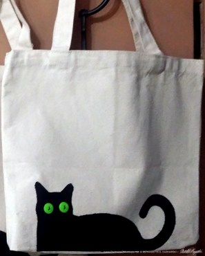 Bella! handprinted and embellished tote bag