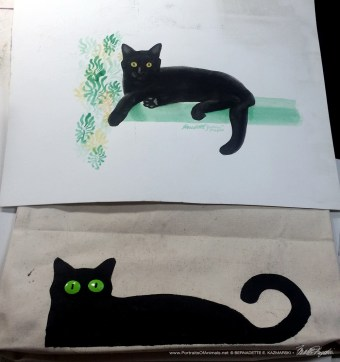 Comparison of the finished Bella! tote bag and the sketch it's based on.