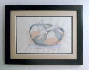Peaches' Nap Spot, framed.