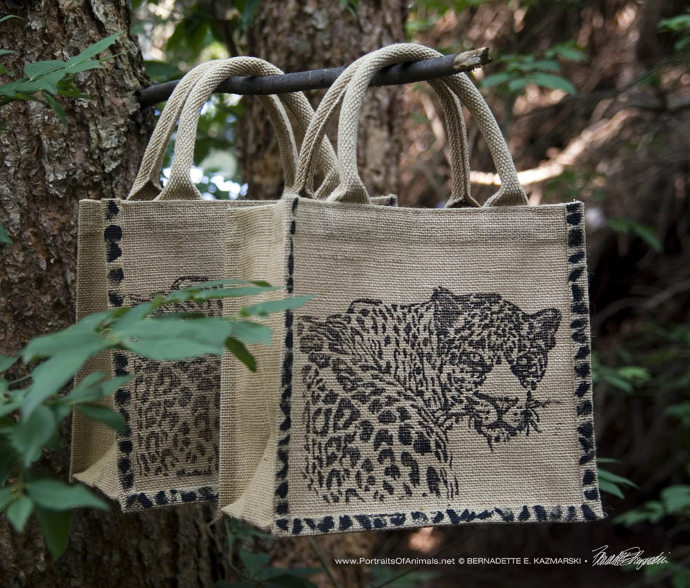"Small jute tote bags with my leopard block print, ""Yes?"""