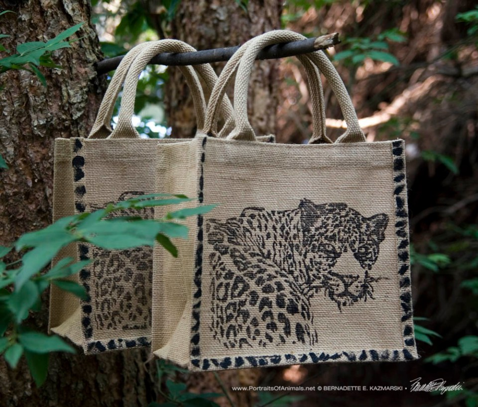 """Small jute tote bags with my leopard block print, """"Yes?"""""""