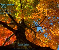 September Nature Art Desktop Calendar Wallpaper