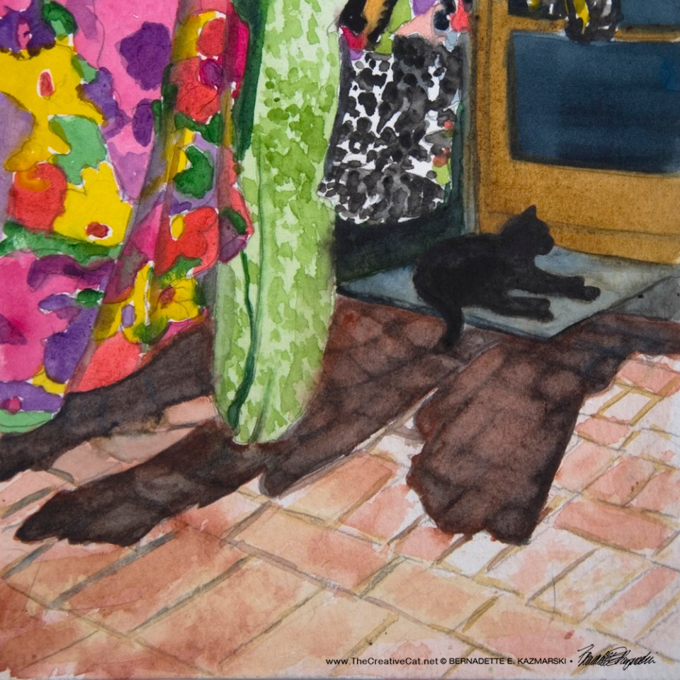Mimi in the Laundry Shade, watercolor, 6 x 6 © Bernadette E. Kazmarski