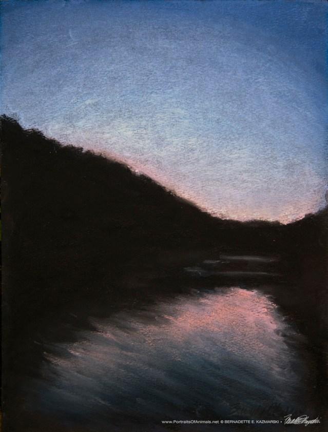 Sunset Cruise, pastel on black pastel paper, 9 x 12 © Bernadette E. Kazmarski