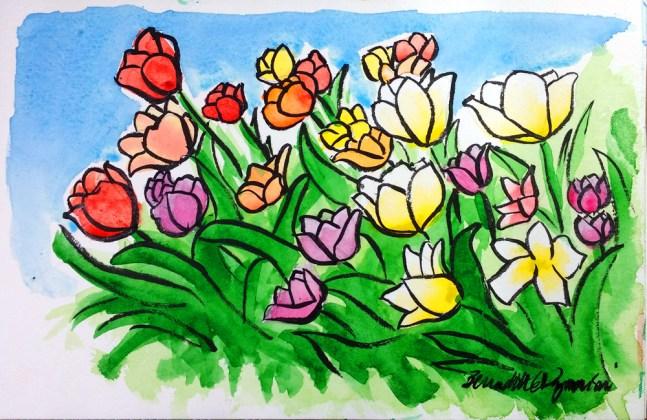 Tulip Garden, watercolor and brush pen, 6 x 9 © Bernadette E. Kazmarski