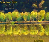 October Nature Art Desktop Calendar Wallpaper