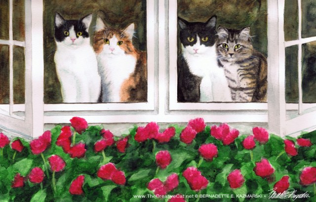 "Four Kitties Supervising Mom, 15"" x 11"", watercolor, 2011 © Bernadette E. Kazmarski."