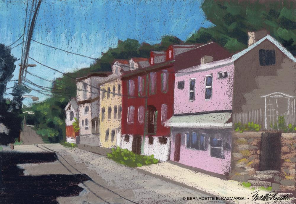 Facades, North Side Pittsburgh, 10.5 x 15, pastel © Bernadette E. Kazmarski